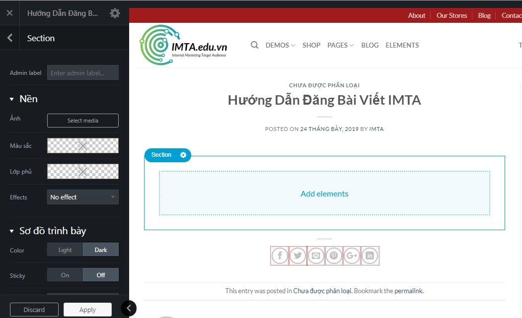 Chọn Section cho Flatsome WordPress
