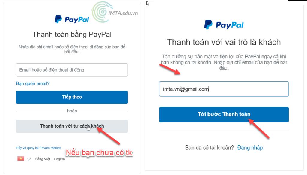Điền email thanh toán