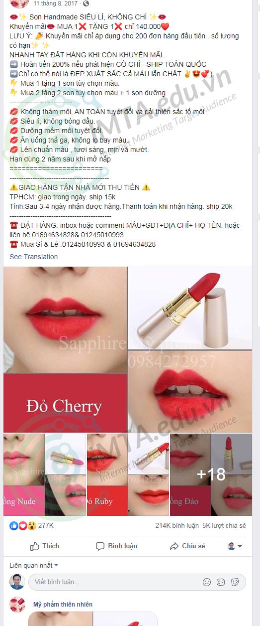 Mẫu quảng cáo facebook 1
