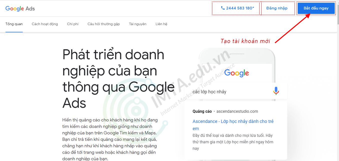 Tạo tài khoản Google Ads