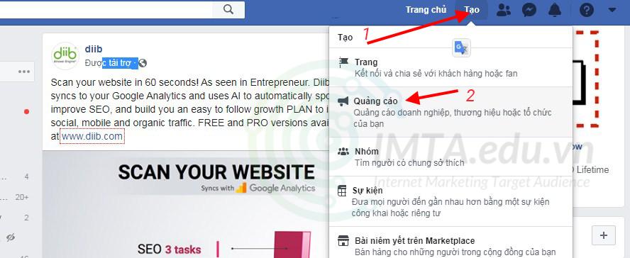 Tạo quảng cáo Facebook Ads