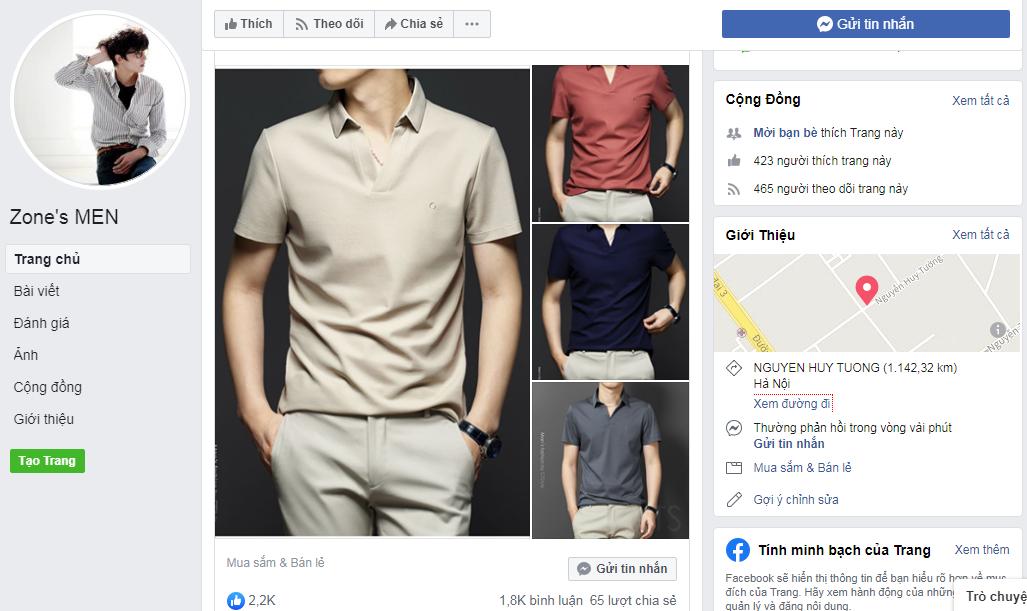 Bán quần áo trang Fanpage