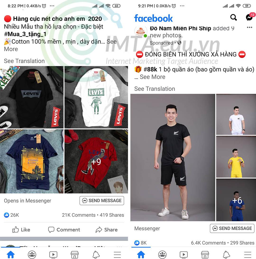 Hình ảnh quảng cáo quần áo Facebook