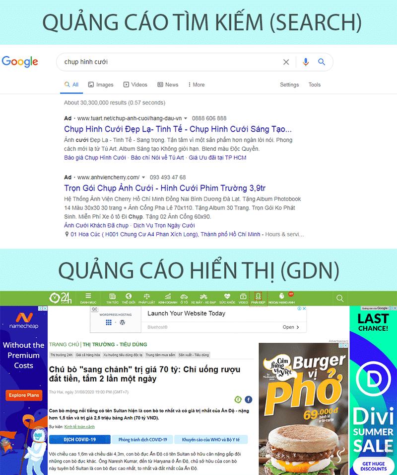 Quảng cáo tìm kiếm và hiển thị Google
