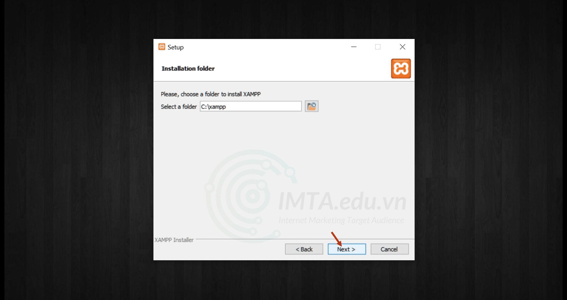 chọn thư mục để cài đặt phần mềm XAMPP