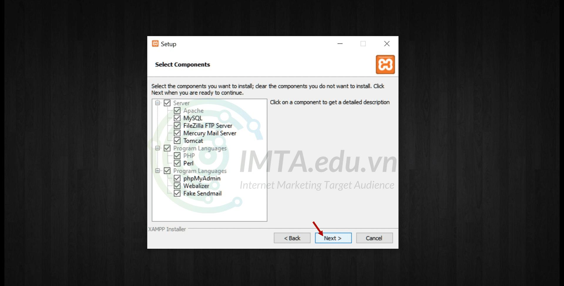 Khung lựa chọn các module thành phần cần cài