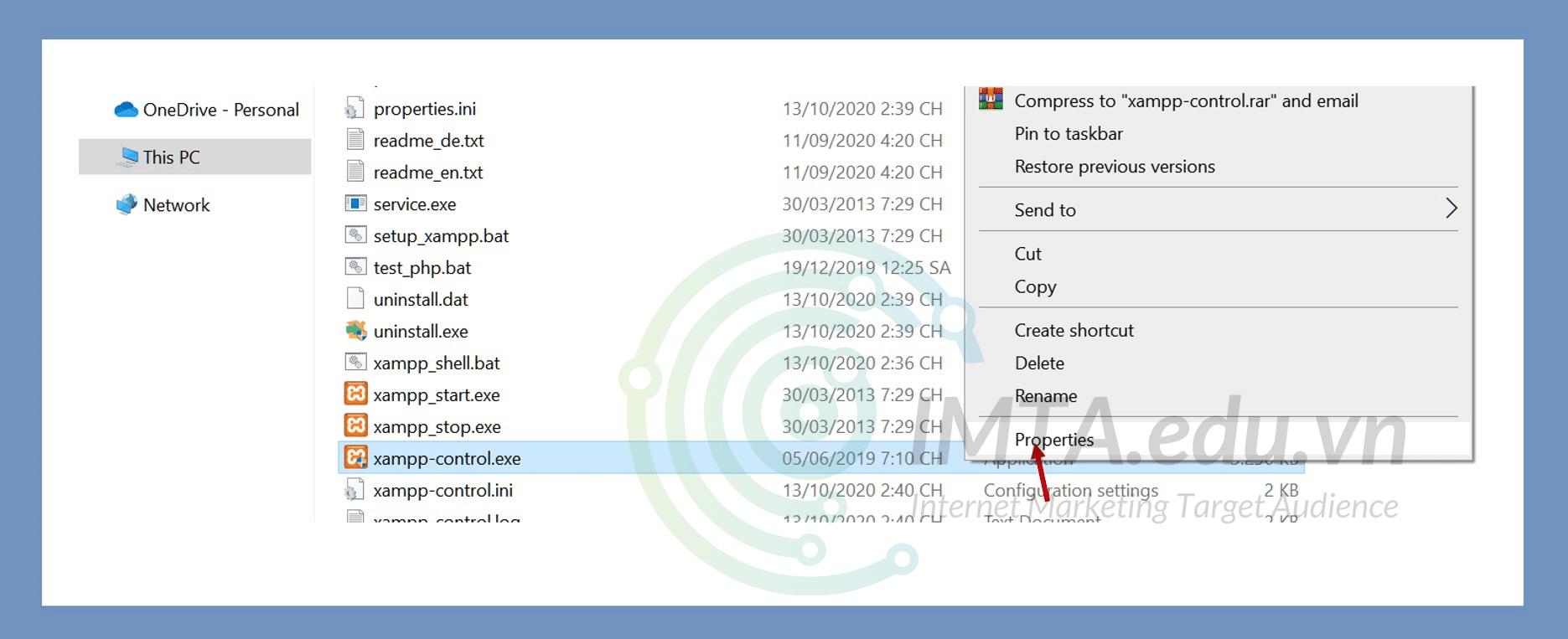 Mở cửa sổ thuộc tính của file xampp-control.exe