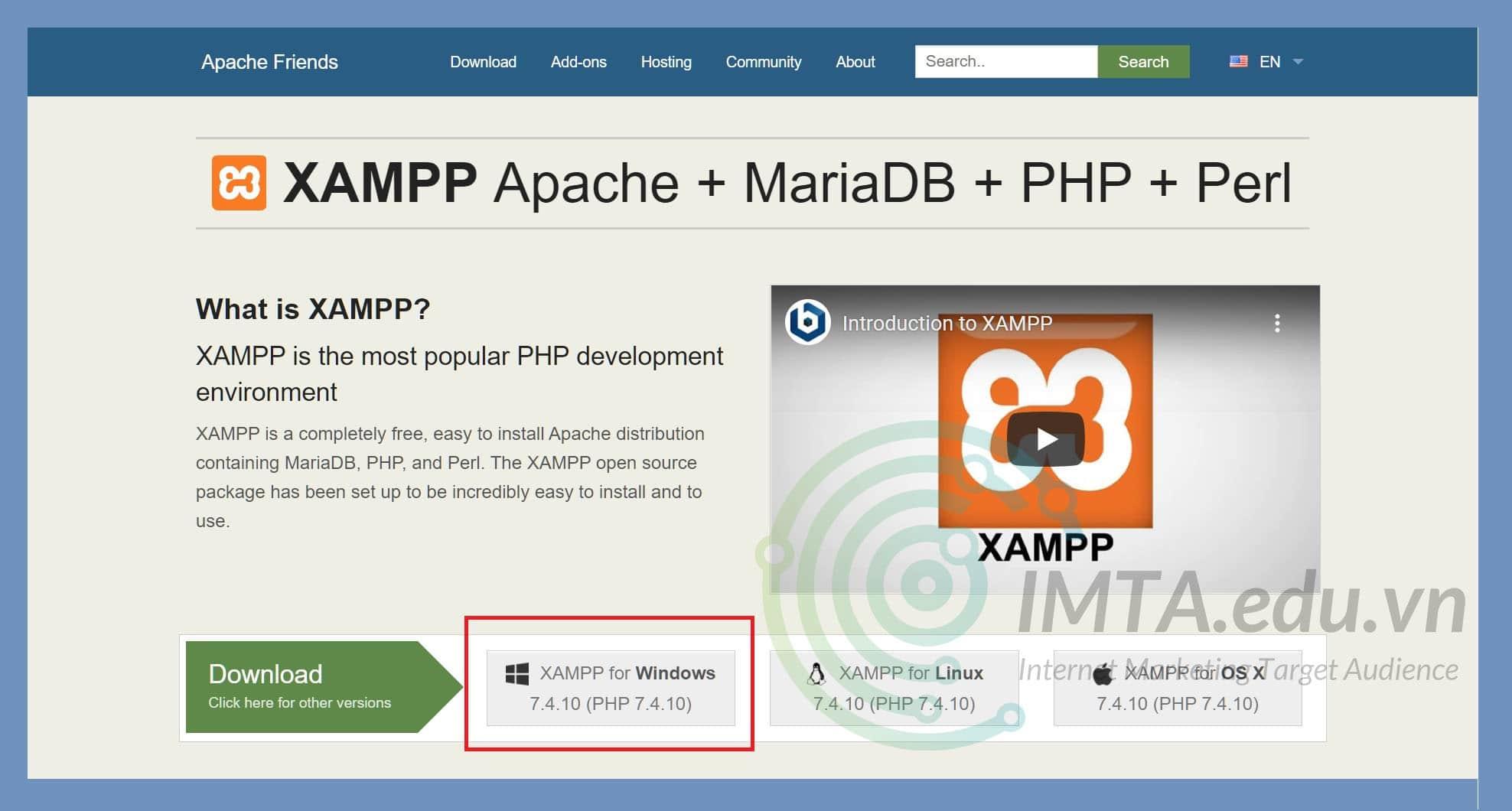 Tải phiên bản XAMPP dành cho hệ điều hành Windows