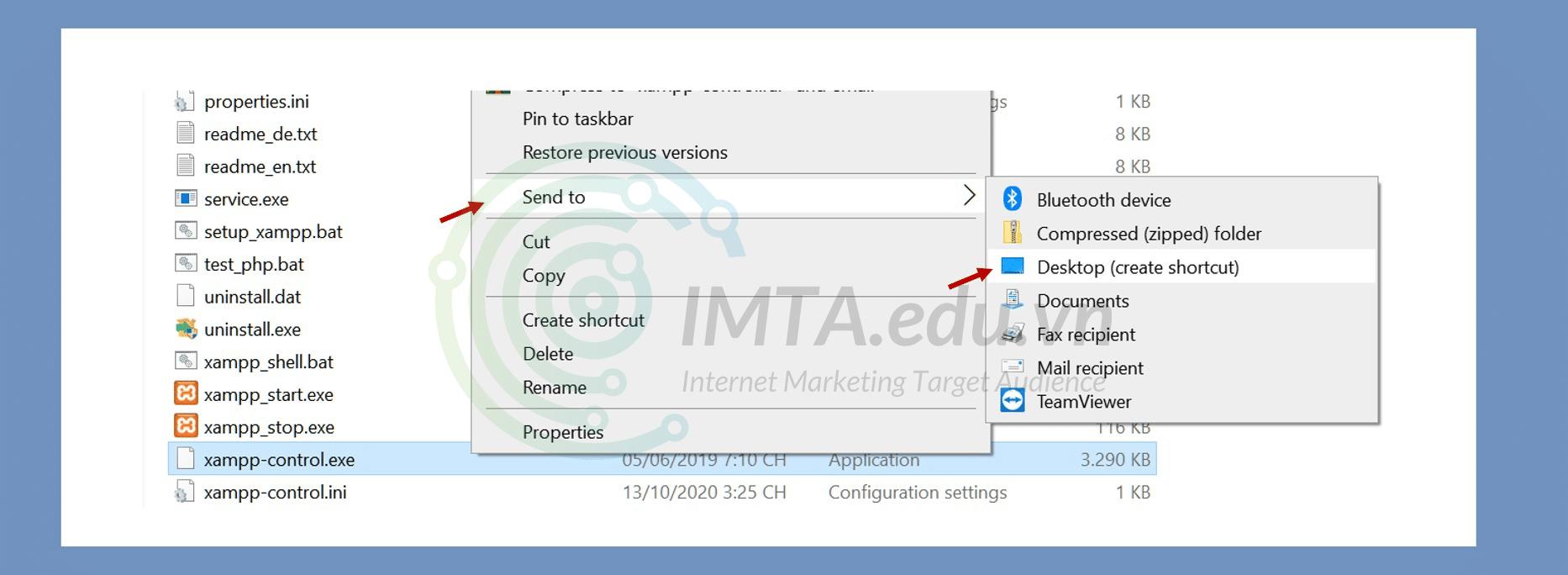 Tạo shortcut đến Desktop cho file xampp-control.exe
