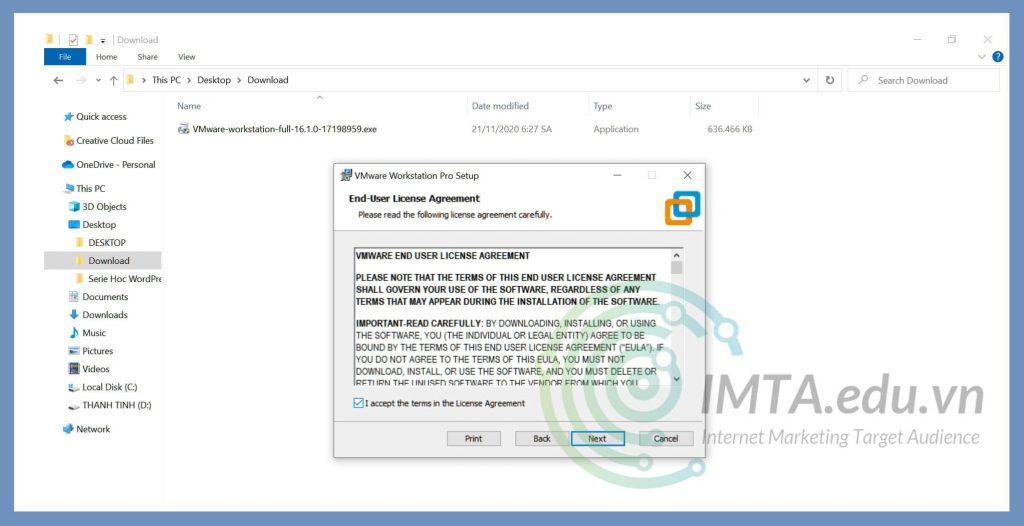 Chấp nhận điều khoản VMware