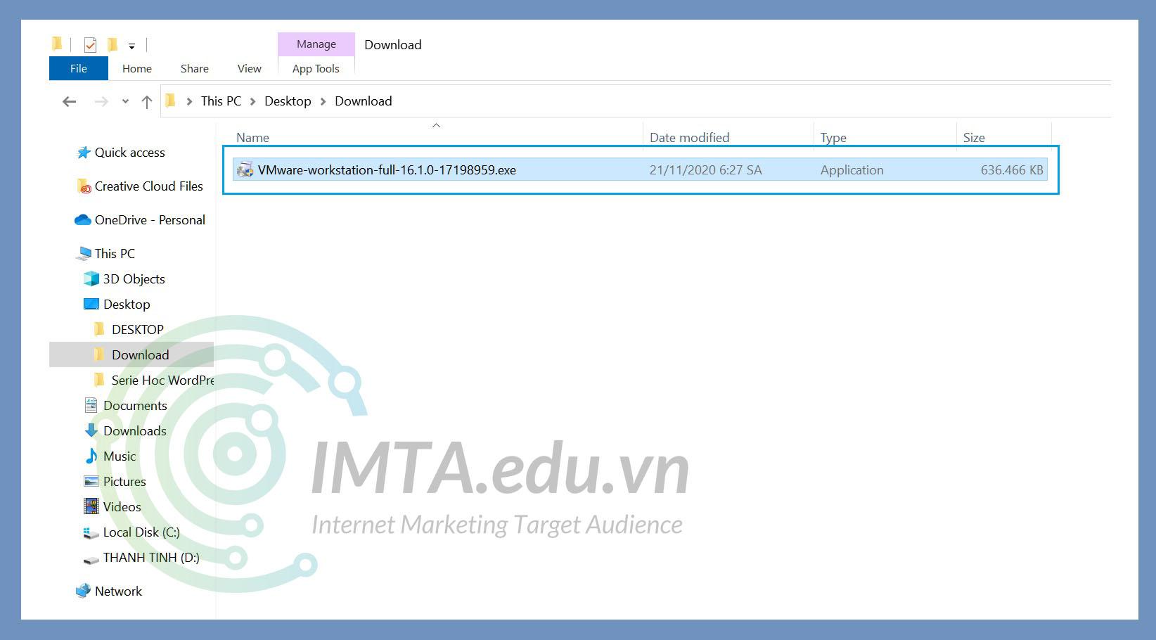 File cài đặt phần mềm VMware