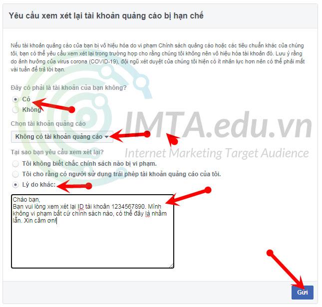 Yêu cầu xem xét lại tài khoản quảng cáo Facebook Ads