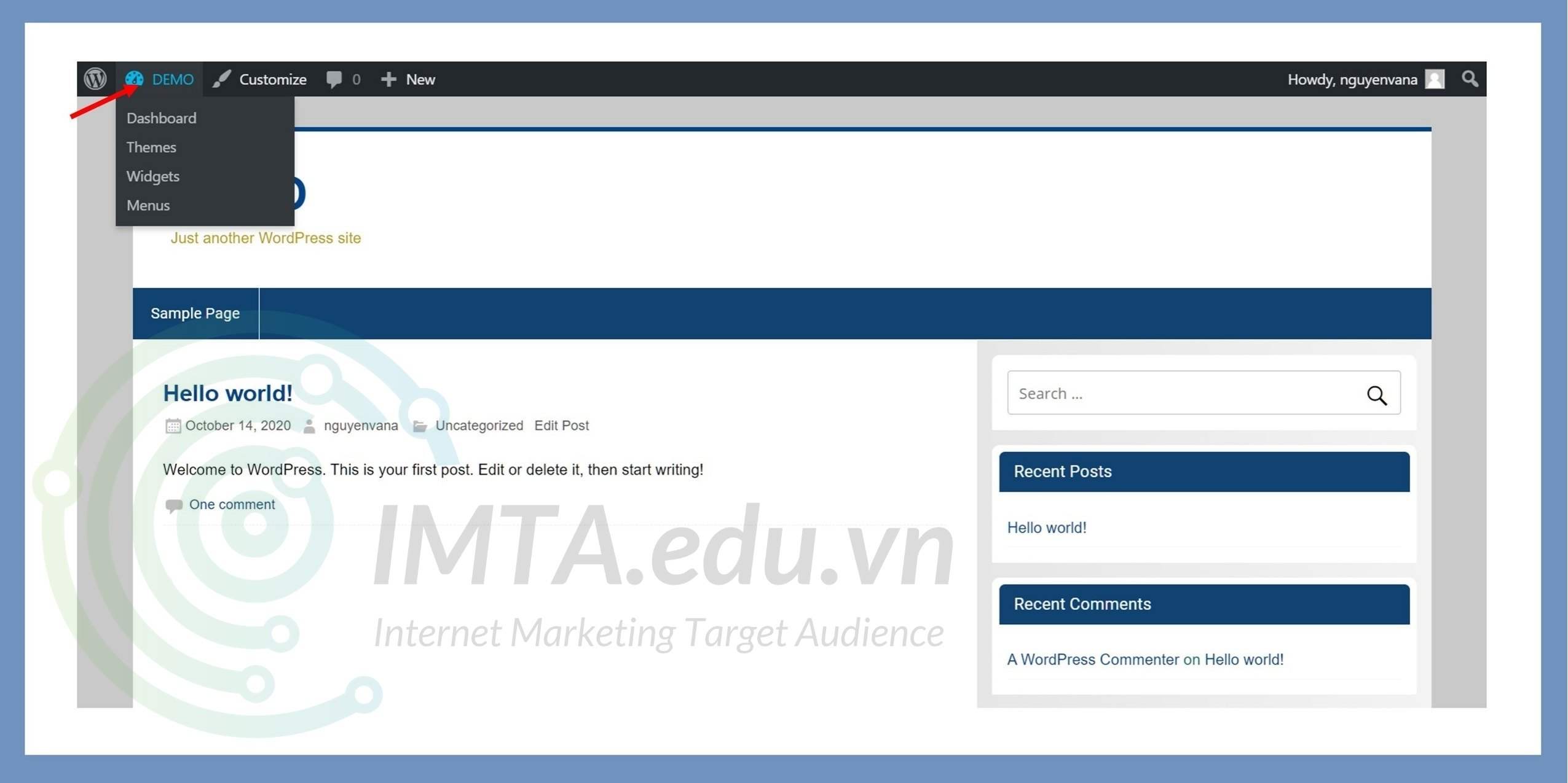 Cách truy cập trang Dashboard của WordPress từ bên ngoài giao diện website