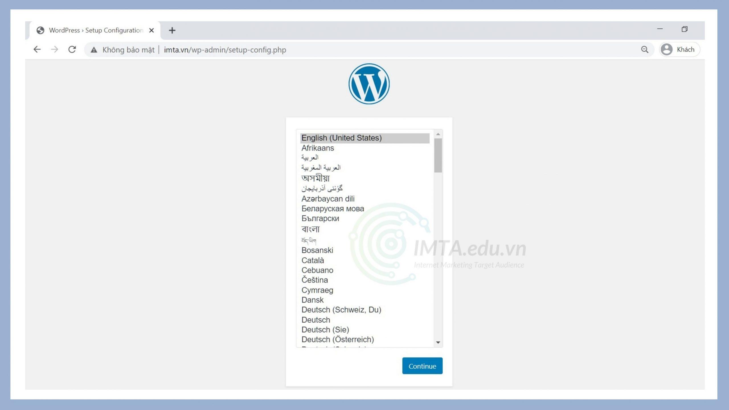 Chọn ngôn ngữ cho website