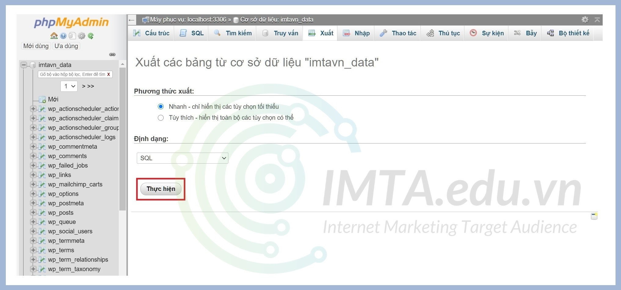 Chọn phương thức xuất Database