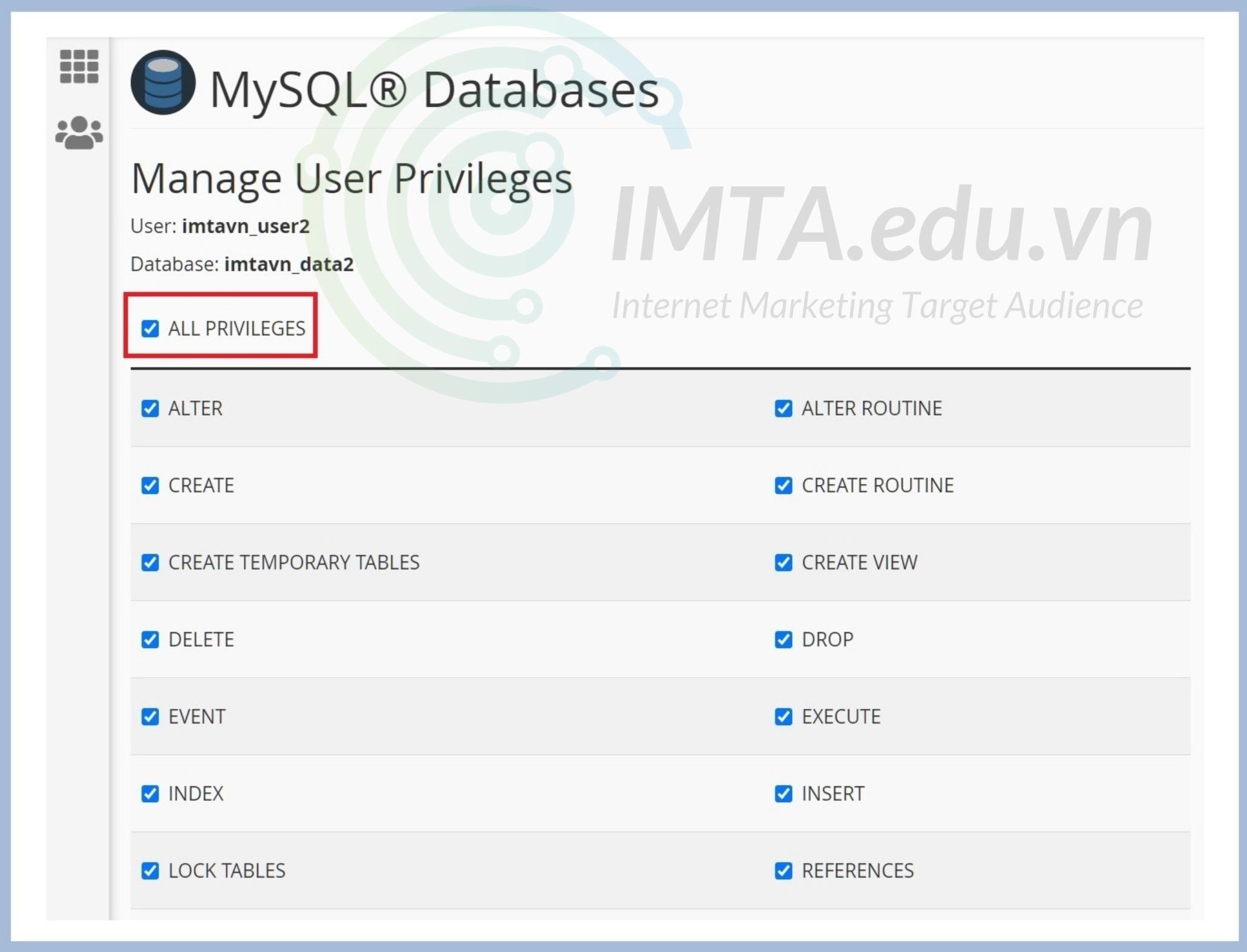 Chọn quyền cho User với Database