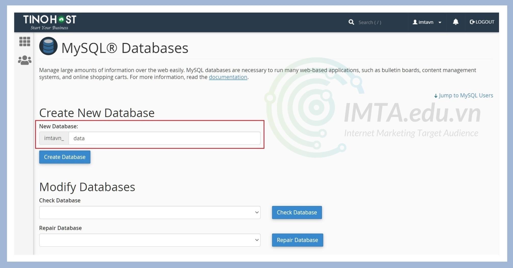 Đặt tên cho database