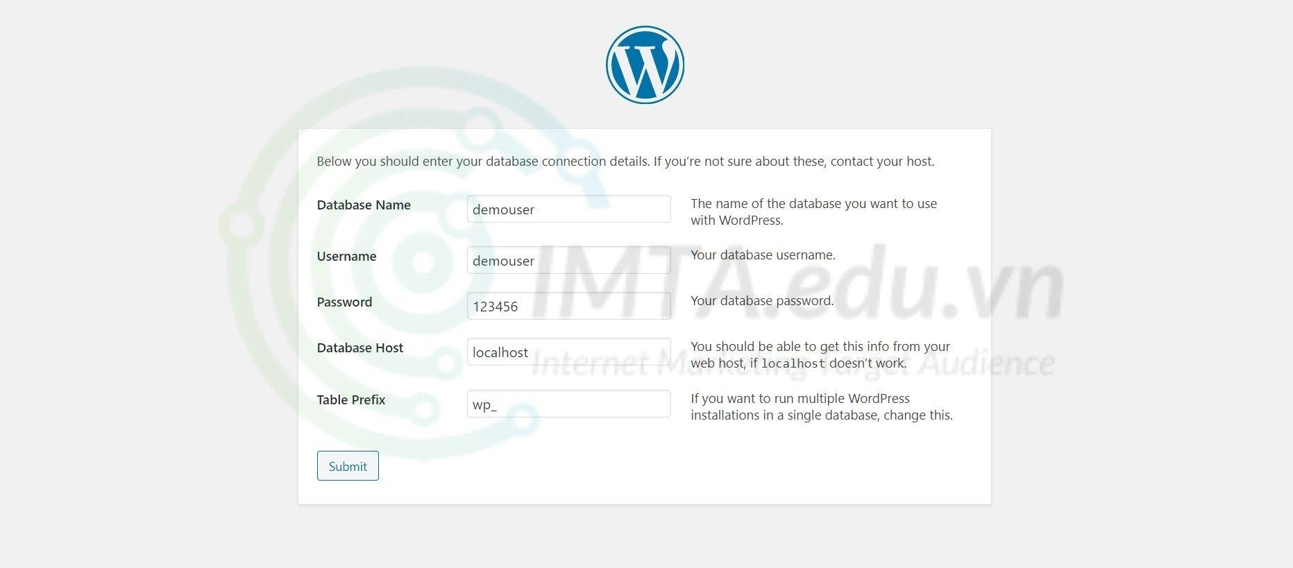 Điền thông tin cài đặt WordPress