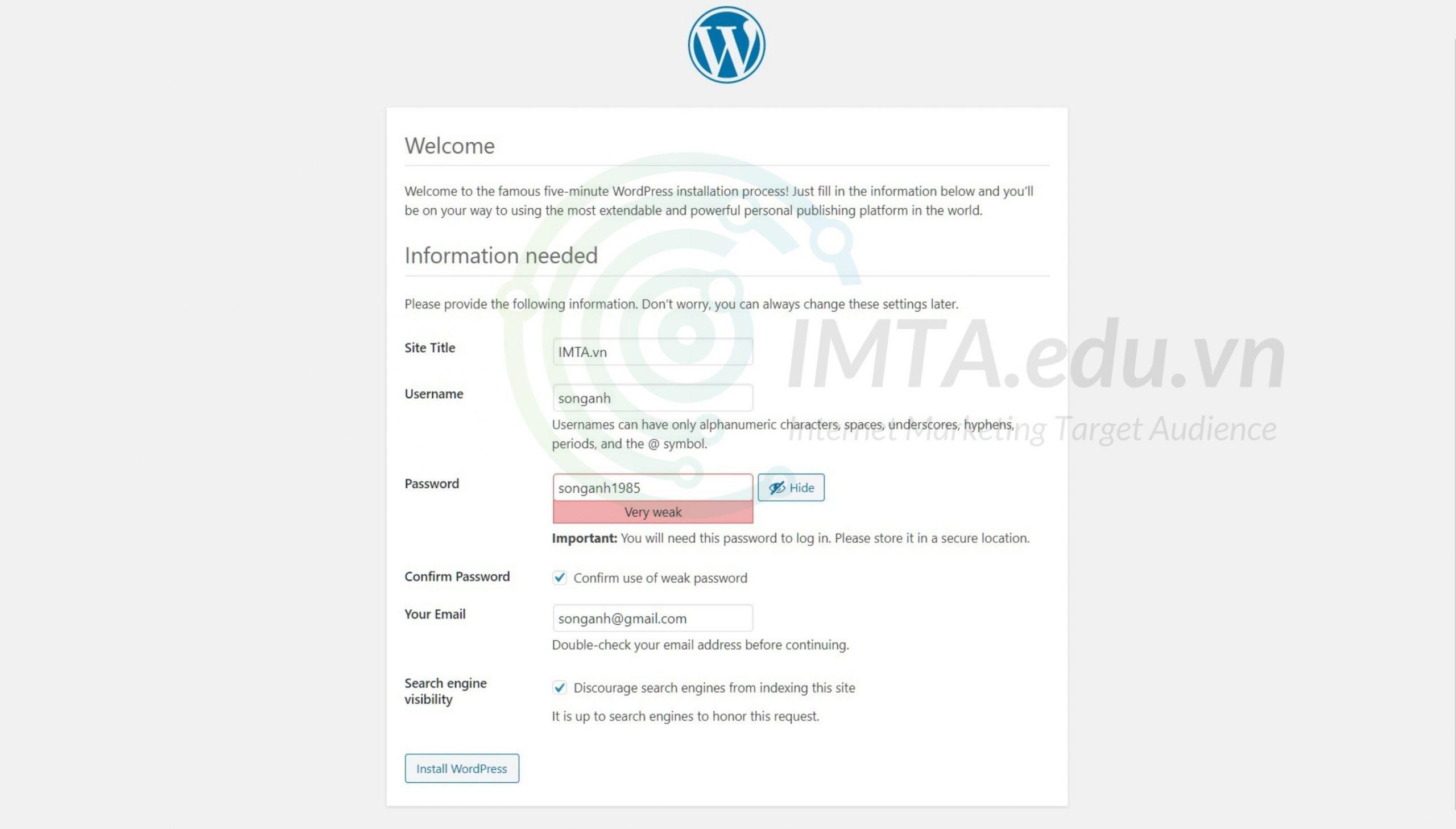 Điền thông tin cài đặt website
