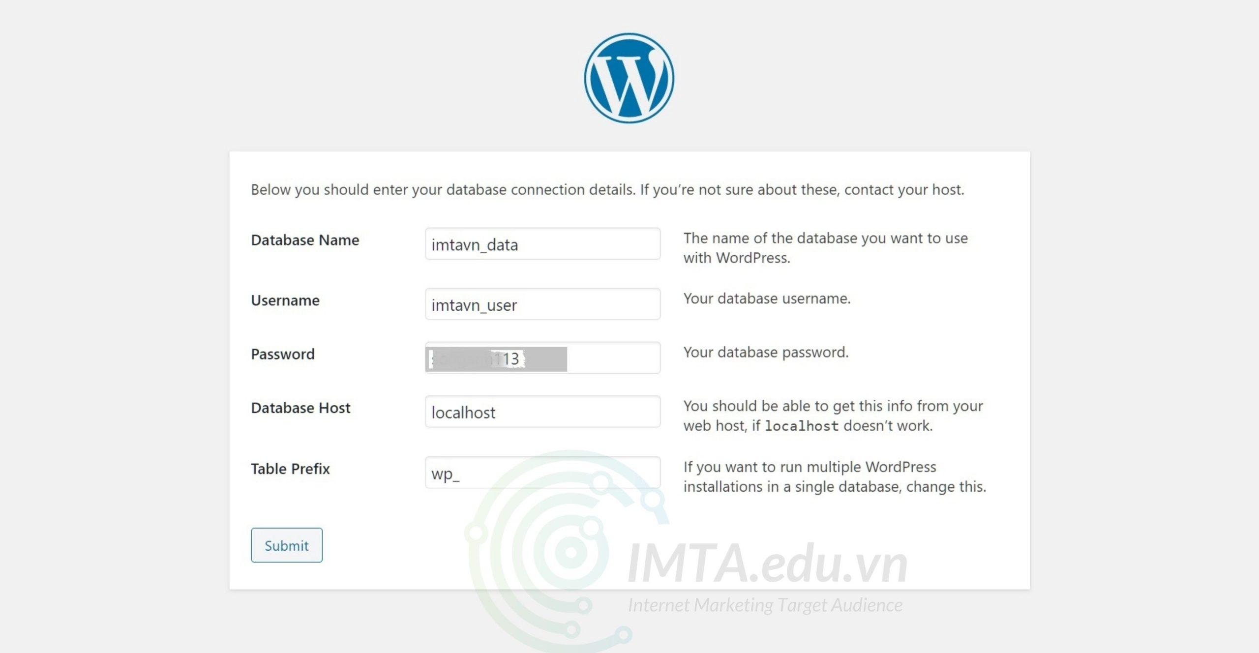 Điền thông tin kết nối user - database với WordPress