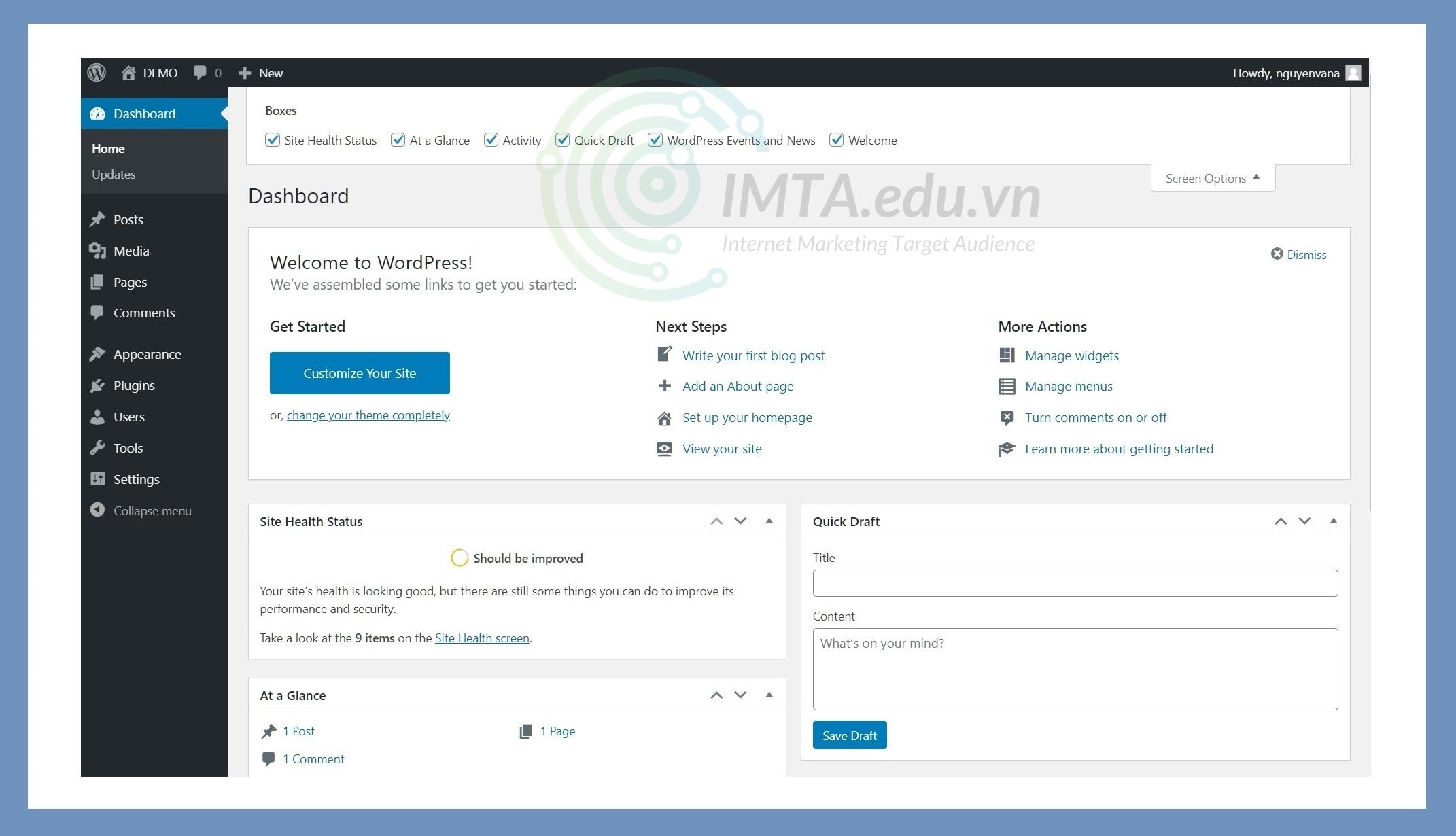 Đây là giao diện dashboard của website lúc mới cài
