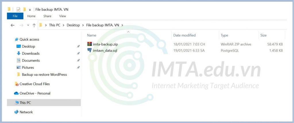 Lưu file backup trong một folder