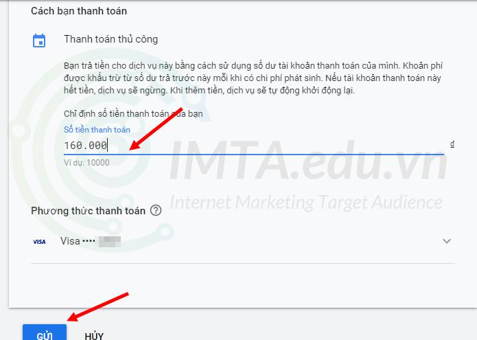 Nhập tiền thanh toán Google Ads
