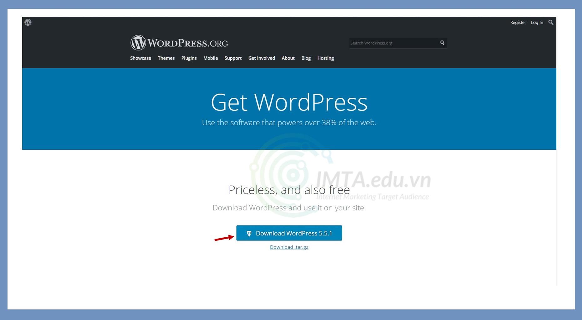 Tải về file cài đặt WordPress