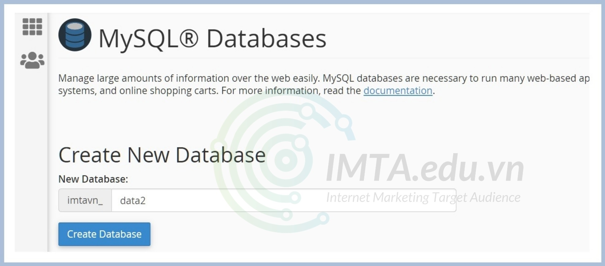 Tạo Database mới cho website