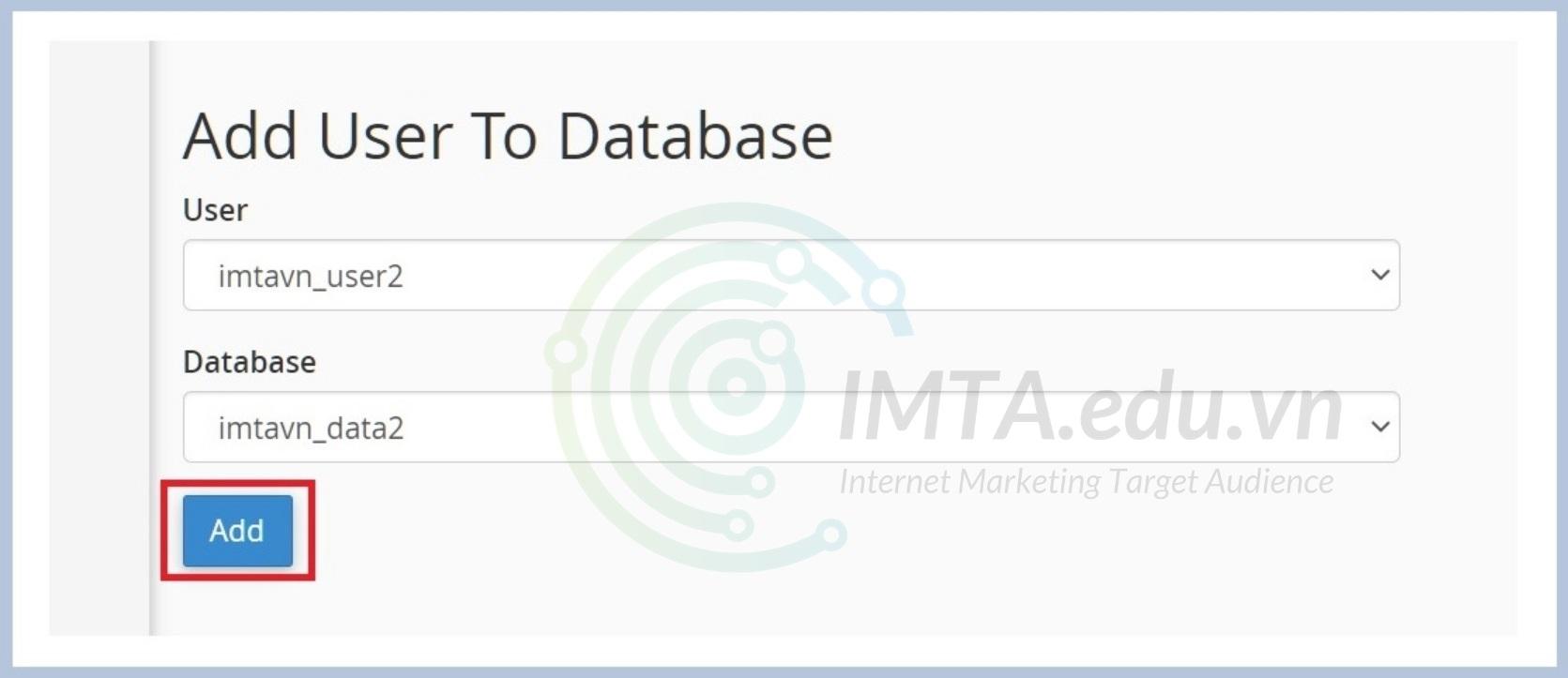 Thêm User vào Database mới