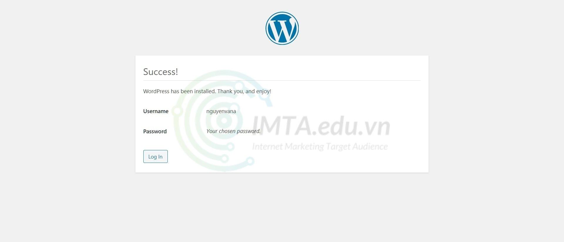 Cài đặt thành công WordPress