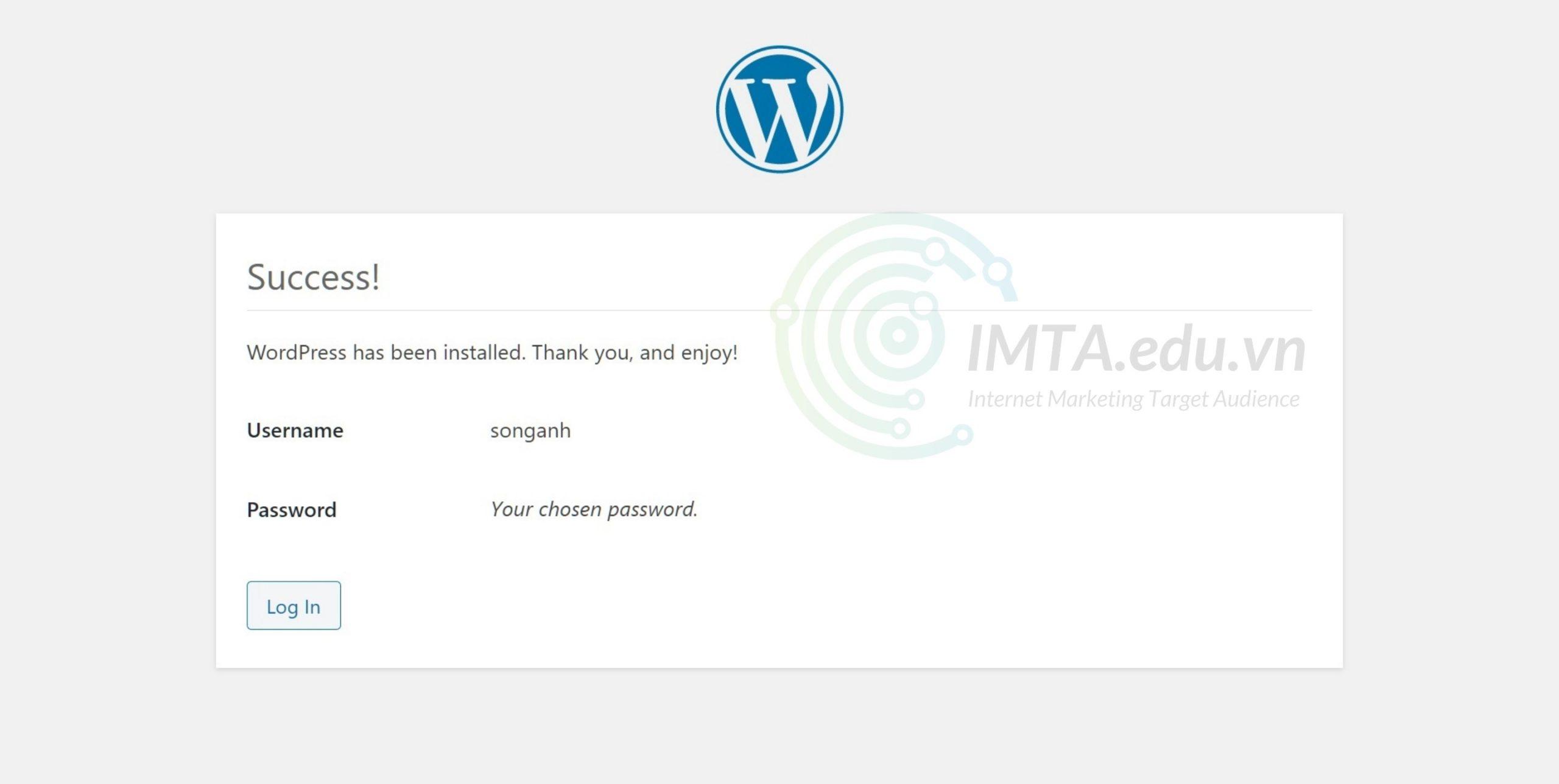 Cài đặt WordPress hoàn tât