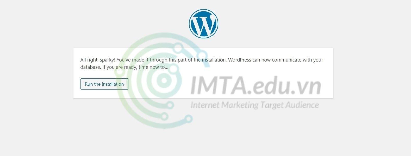 Thông báo chạy cài đặt WordPress