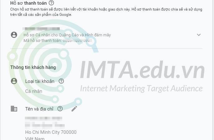 Thông tin thanh toán Google Ads