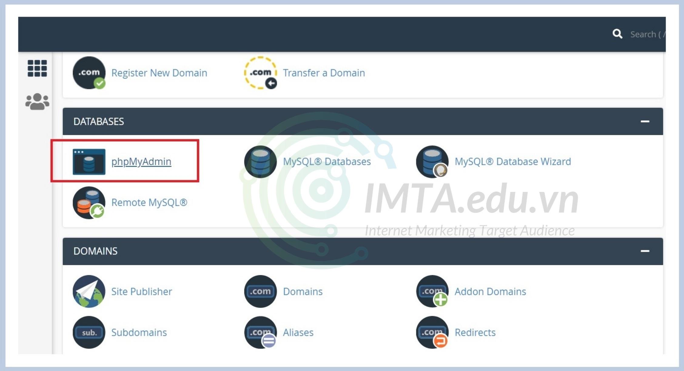 Truy cập phpMyAdmin trong cPanel