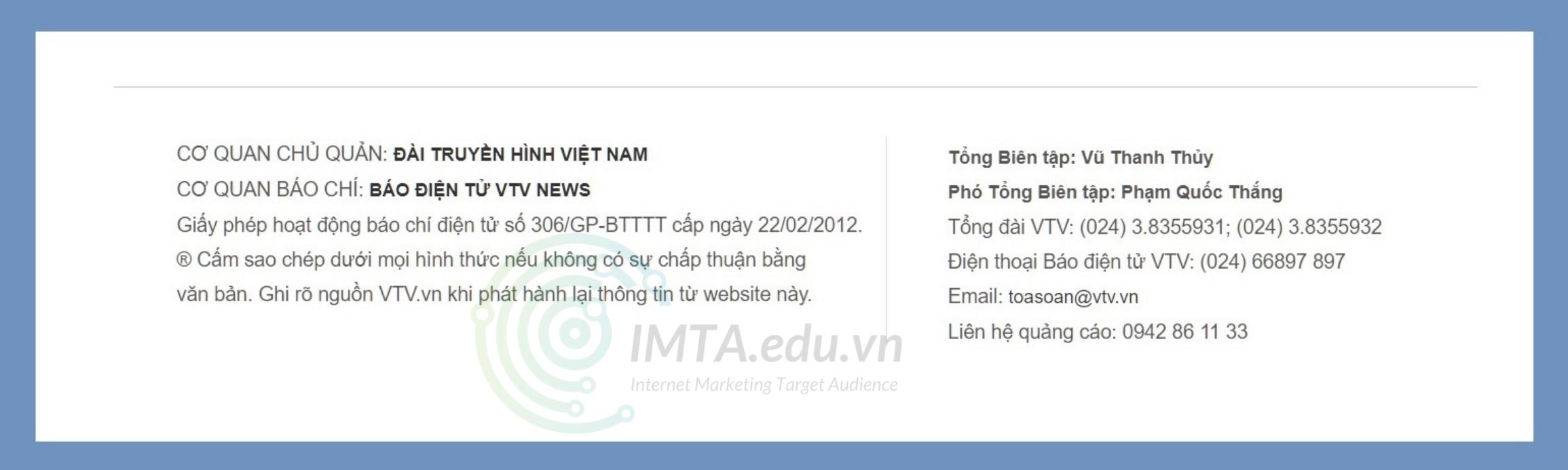 Ví dụ về Footer của VTV.vn