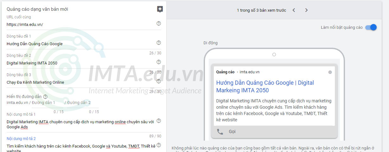 Viết mẫu quảng cáo Google