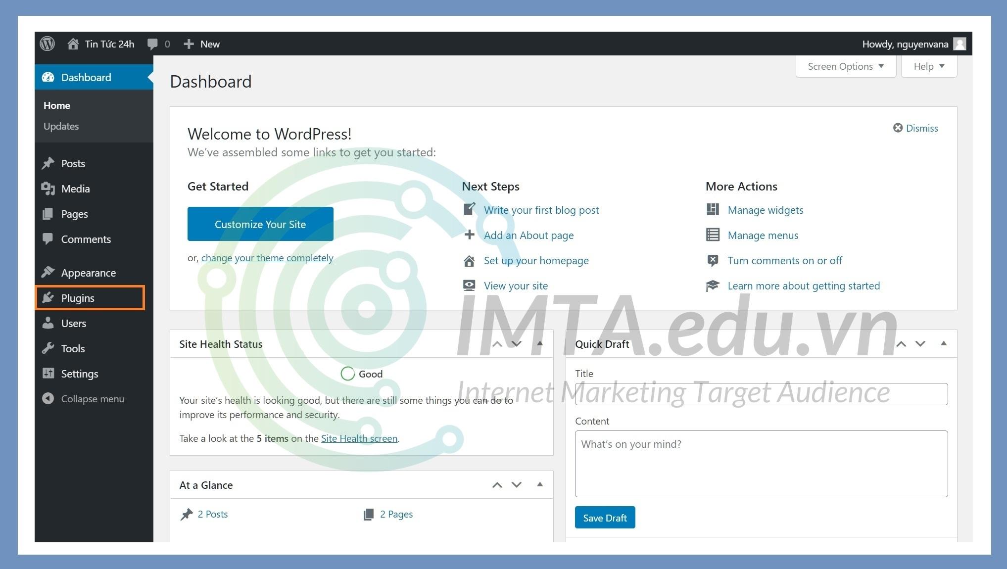 Mở trình quản lý plugin từ Dashboard
