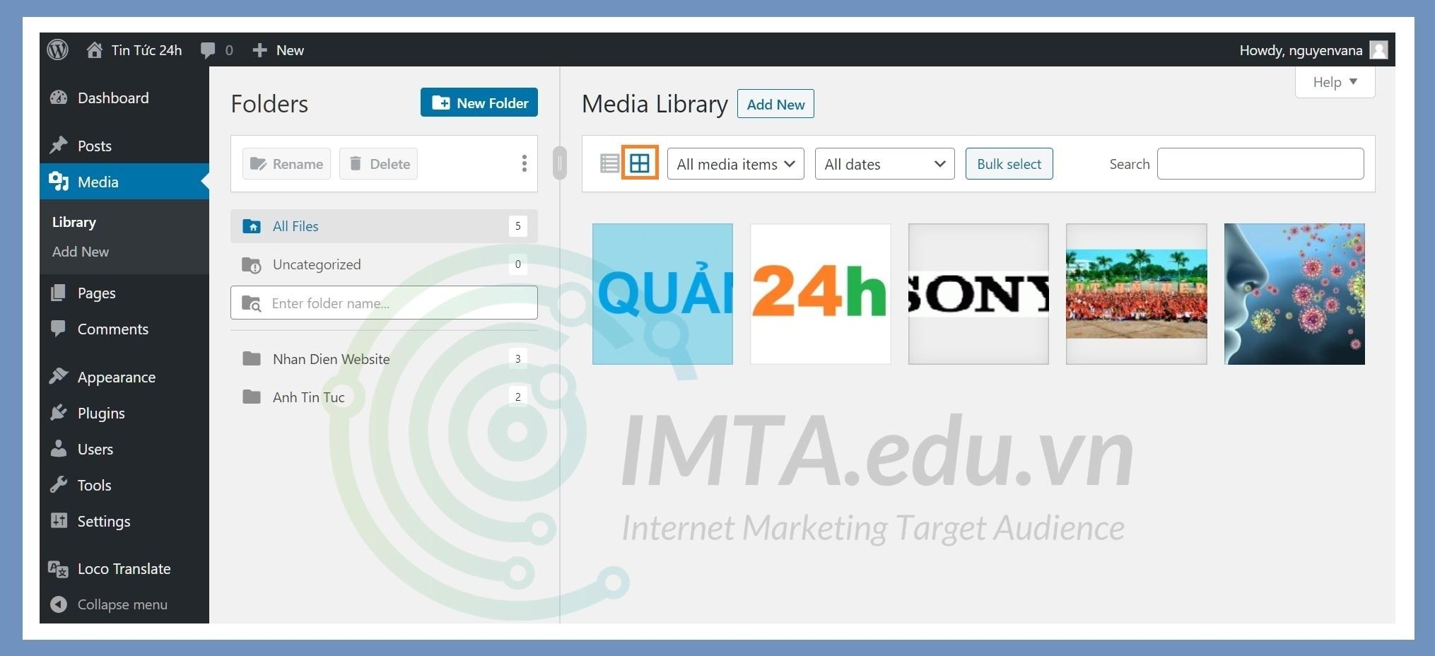 Thay đổi cách hiển thị danh sách file media