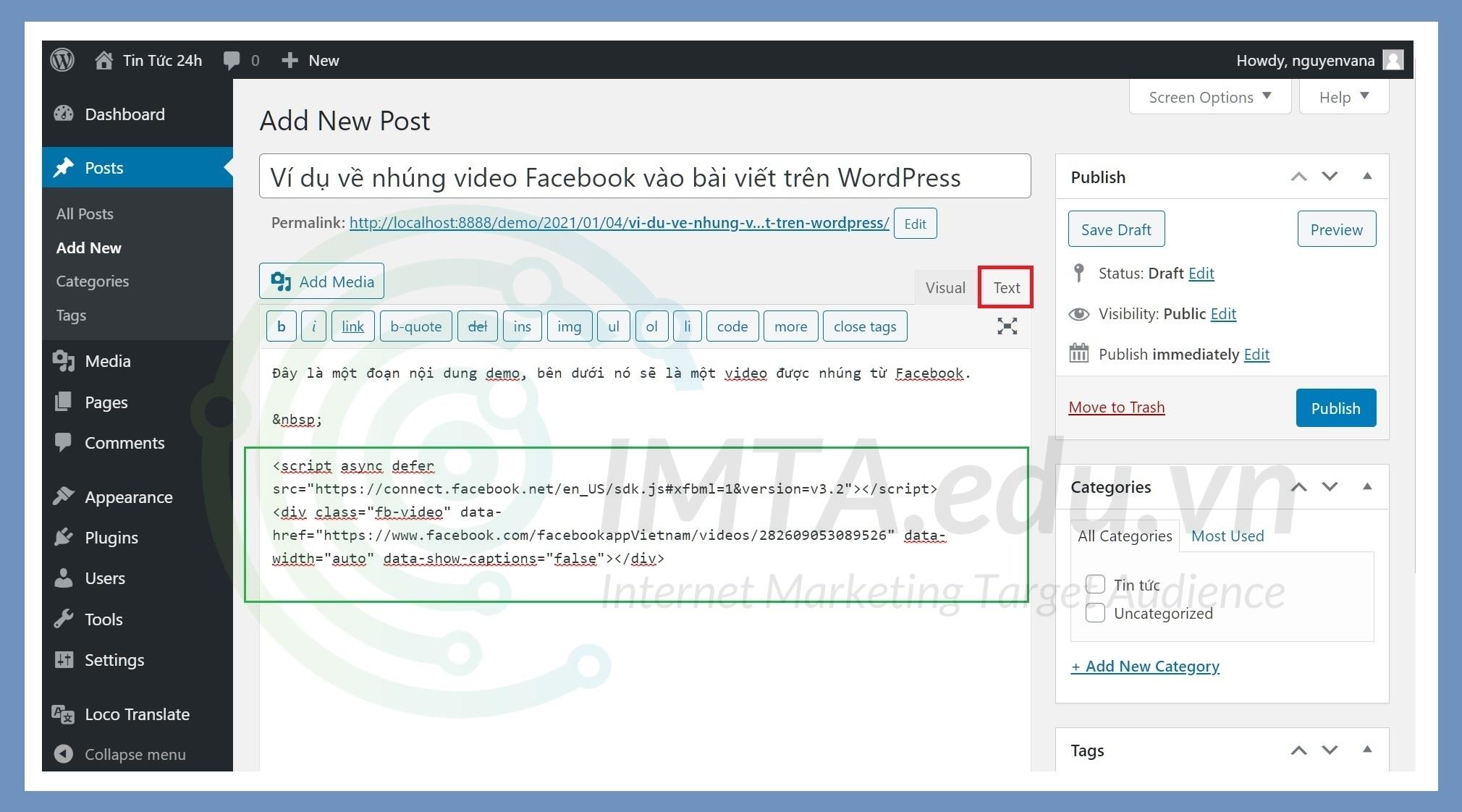 Ví dụ về nhúng video Facebook vào bài viết