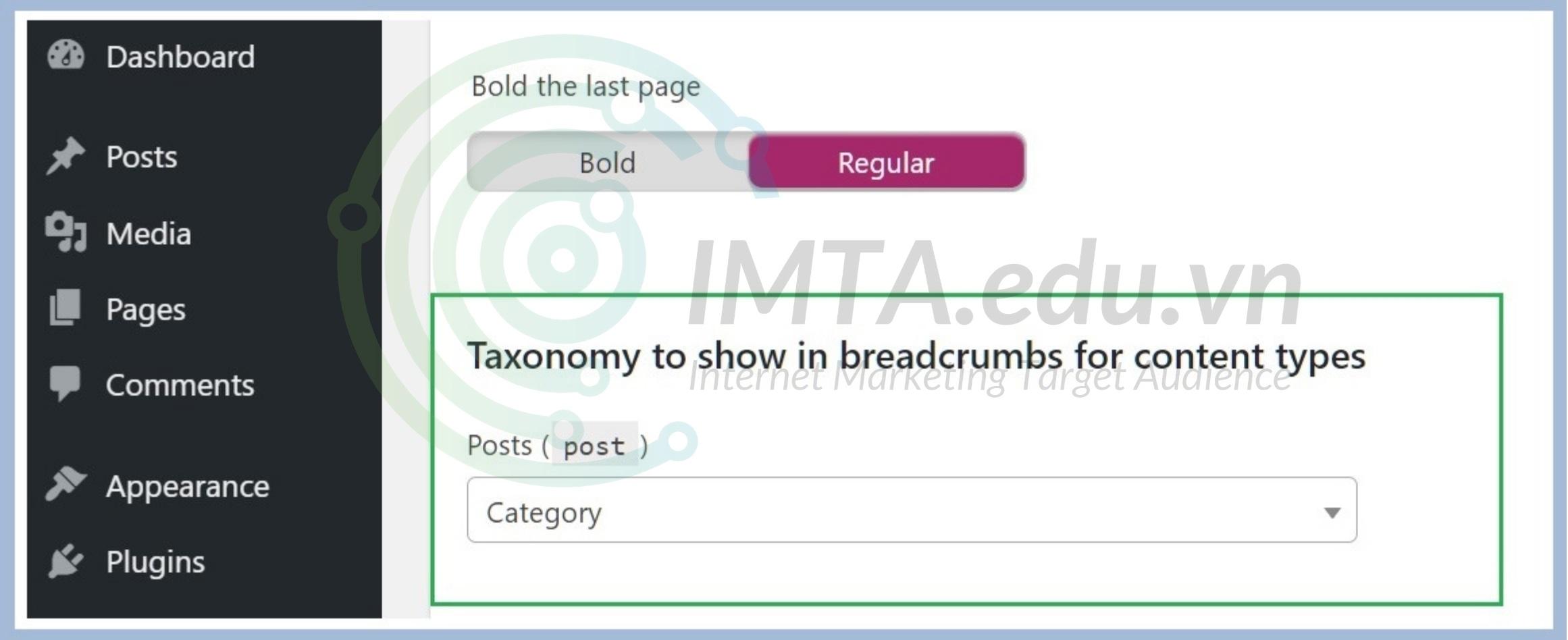 Chọn cách phân cấp nội dung cho Breadcrumb