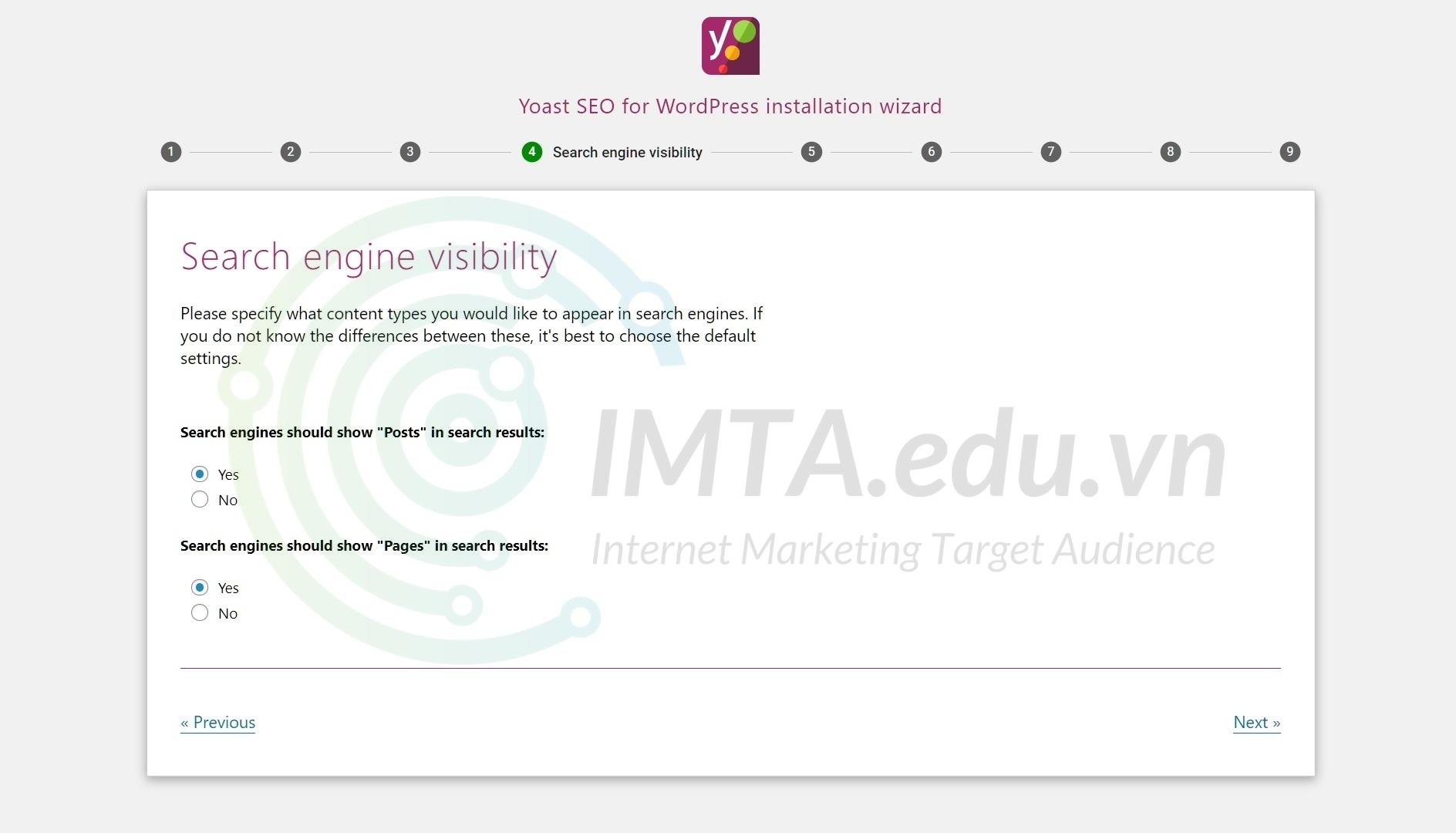 Chọn loại nội dung được hiển thị trên quả tìm kiếm