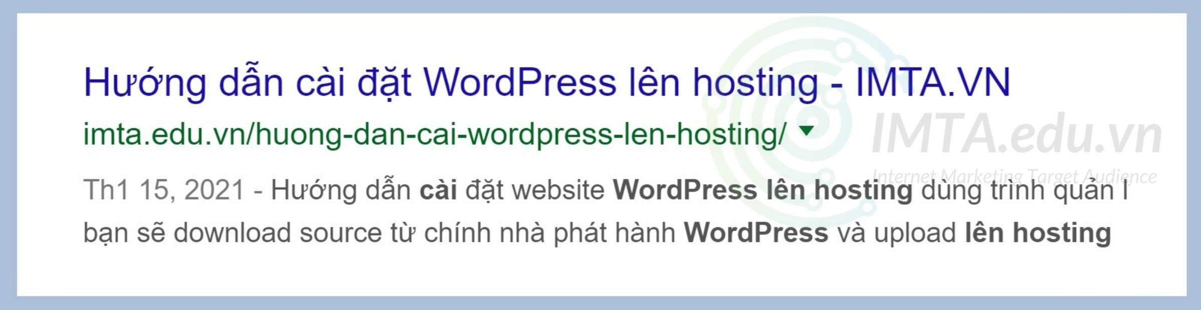 Minh họa về sự ngăn cách giữa tiêu đề nội dung với tên website