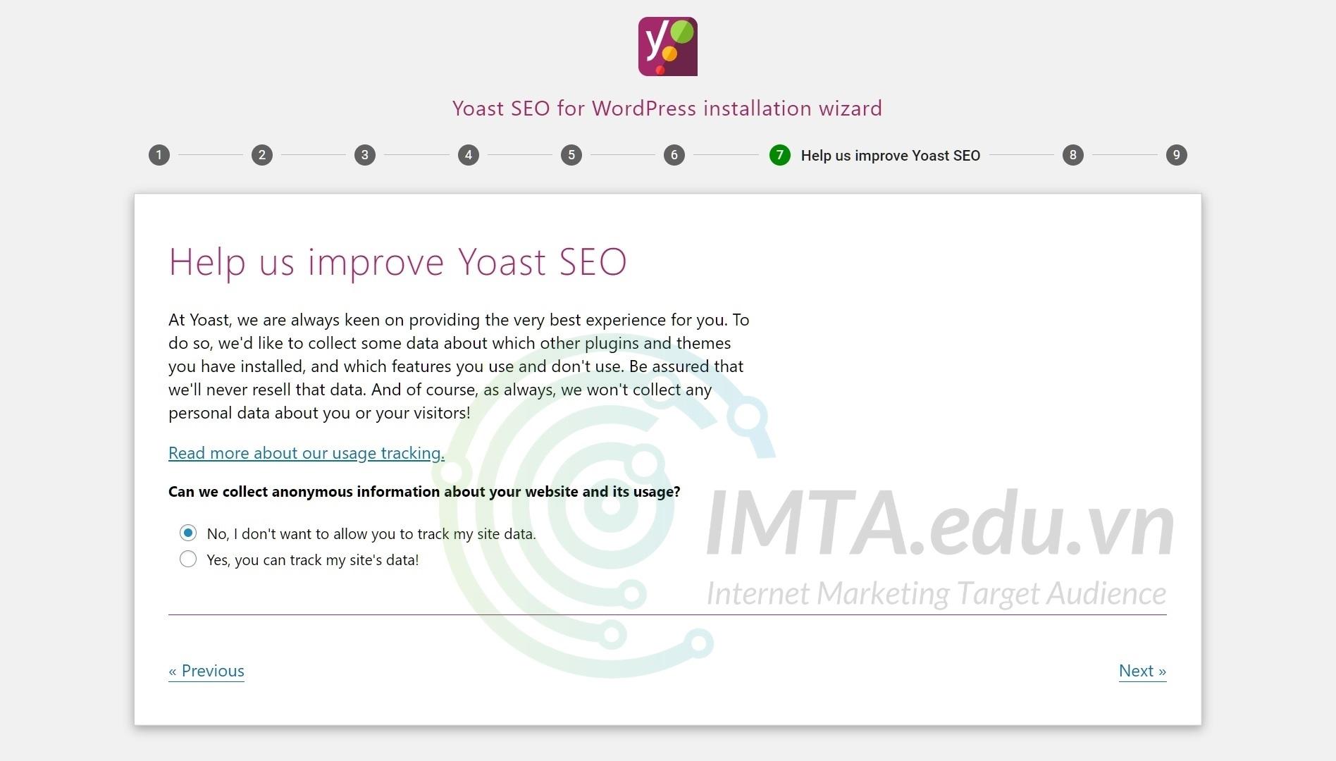 Từ chối quyền theo dõi dữ liệu website của Yoast SEO