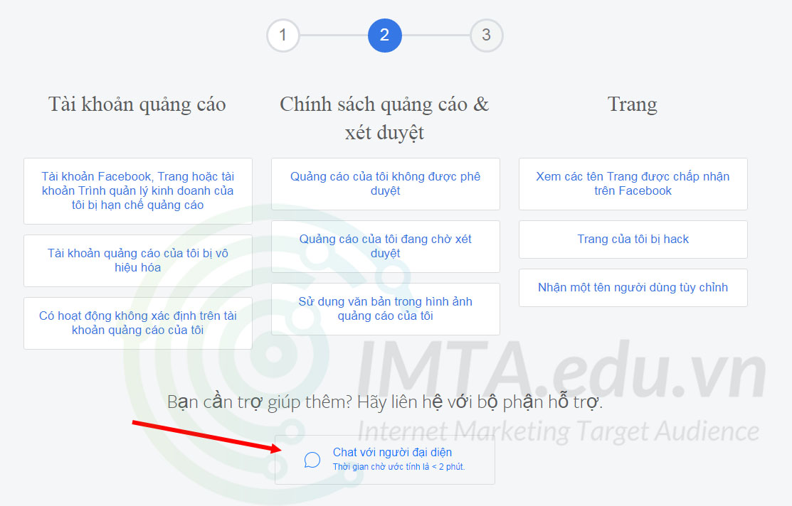 Vào chat với support Facebook