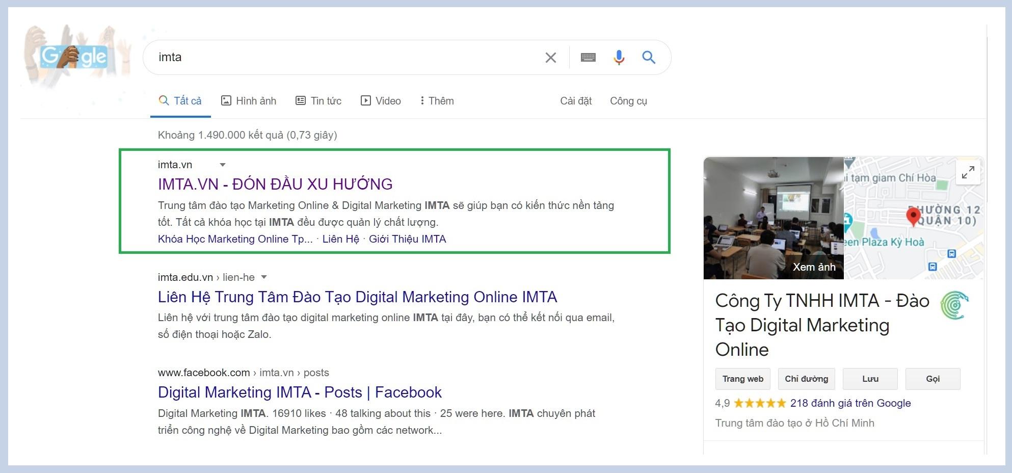Ví dụ minh họa về tiêu đề tùy chỉnh hiển thị trên Google