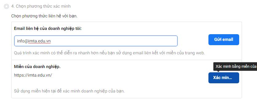 Xác minh bằng email hoặc tên miền