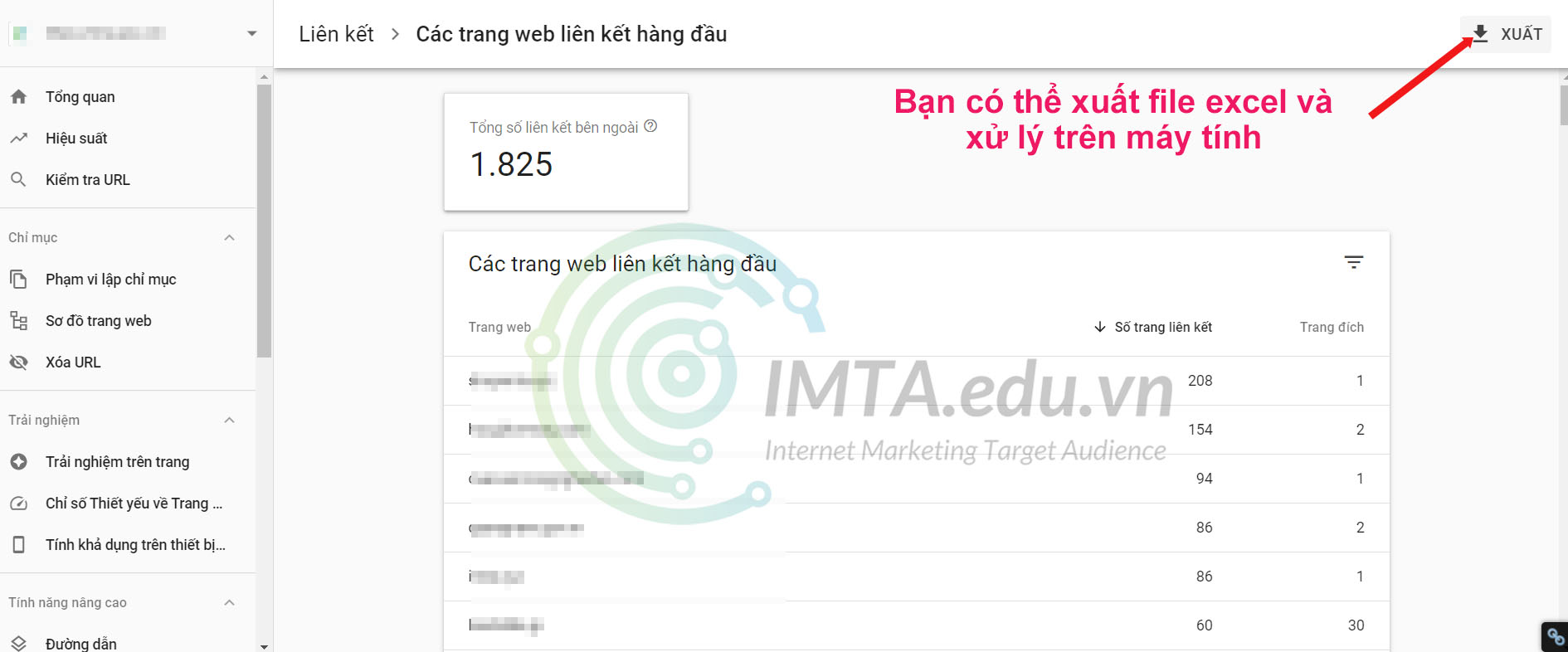 Xuất domain trong Google Search Console