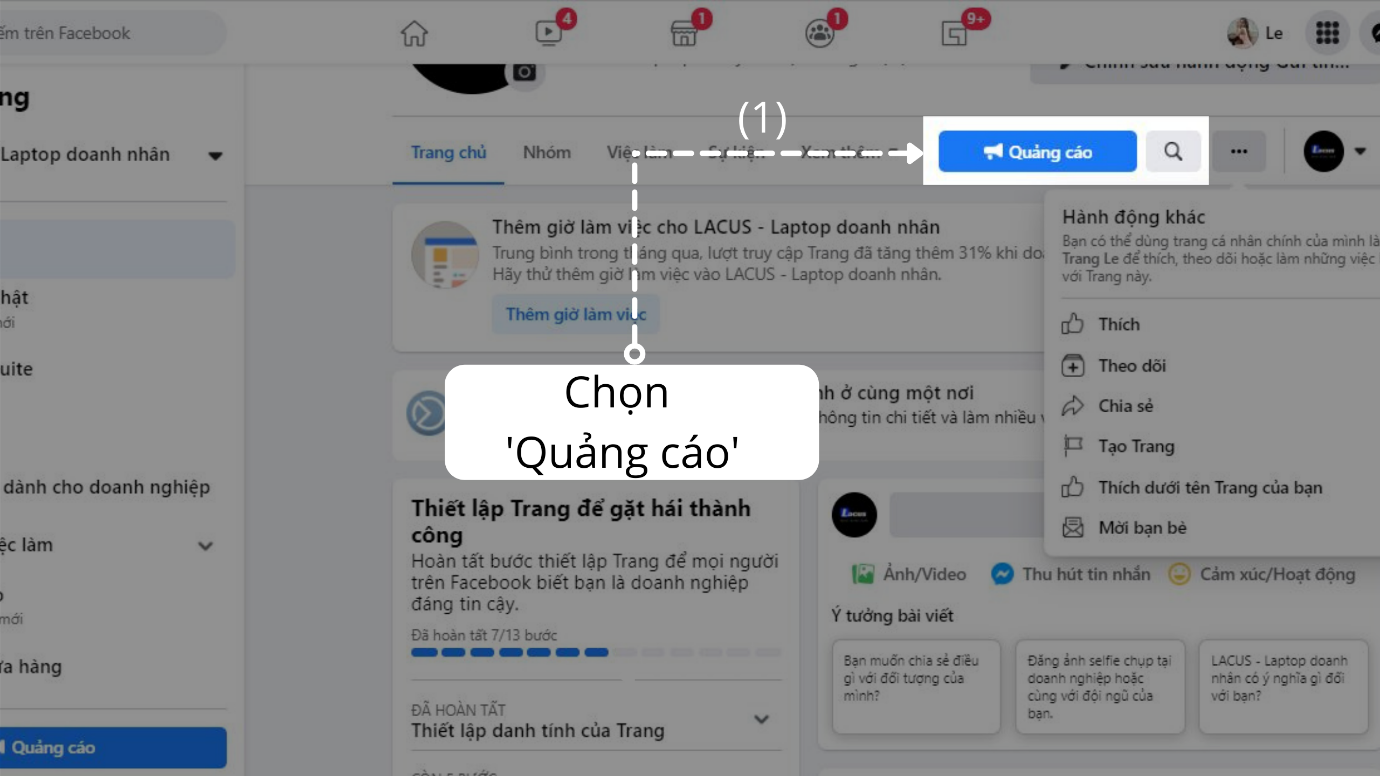 Chọn quảng cáo trên Trang