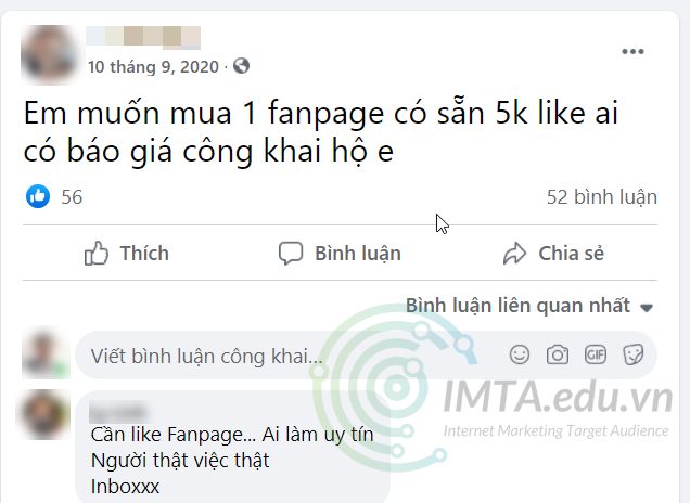 Mua bán Fanpage